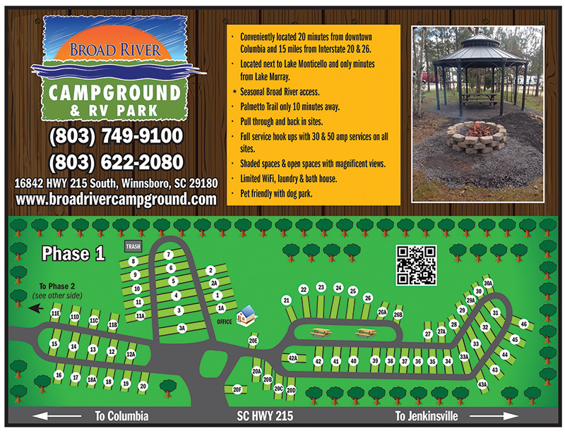 Broad River Campground Lot Map 1