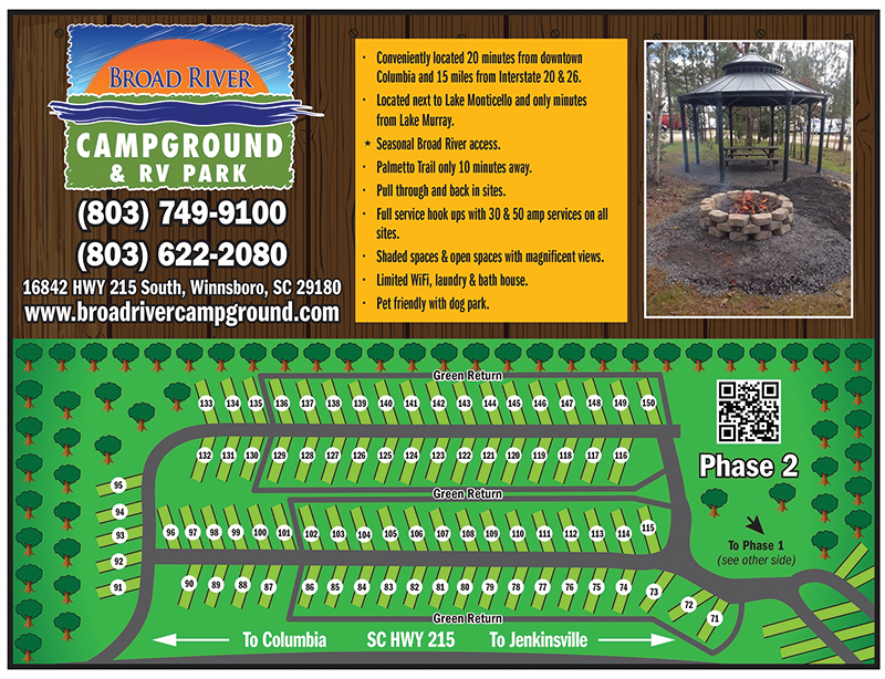 Broad River Campground Lot Map 2